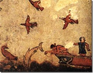 Fresque d'une tombe étrusque à Tarquinia (Italie) datant de 530-520 av. J.C. - Source : http://marenostrum.org/bibliotecadelmar/mitologia/dofins_fr.htm