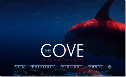 Menu DVD The Cove - Bonus du DVD de The Cove (la baie de la honte)