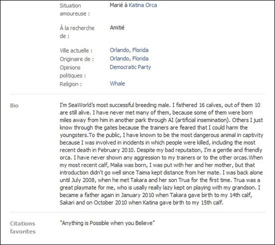L'autobiographie Facebook de Tilikum...