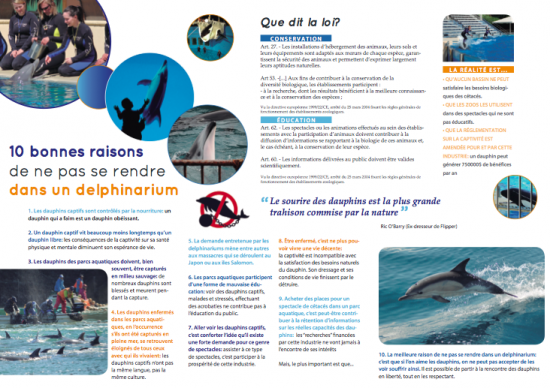 Tract - 10 Bonnes Raisons de ne pas se rendre dans un Delphinarium
